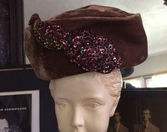 Fabulous Vintage 40s Brown Velvet Pillbox Sequin Bird Applique New Look Ladies Hat