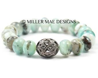 Pave Diamond Bead Bracelet | Peruvian Opal Diamond Bracelet | Green Opal Bracelet | Beaded Opal Bracelet | Stretch Diamond Bracelet