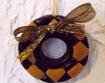 Christmas decoration to hang in shades of Brown and caramel, bronze and gold organza Ribbon