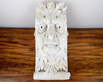 Vintage Garden Statue Outdoor Green Man Statue Gothic Wall Hanging, Unique Yard Stone Wall Fantasy Decor, One of a Kind Housewarming Present