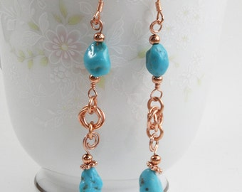 Turquoise Earrings, Copper and Turquoise, American Turquoise, Dangle Earrings