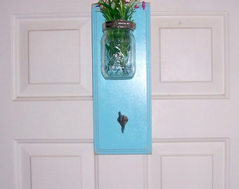 rustic wall shelf with vase wooden shabby chic mason jar coathook shelf beach rustic ocean breeze cottage chic