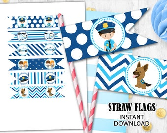Police straw flags Police toppers cake cupcake toppers INSTANT DOWNLOAD Digital printable straw flags Police birthday party