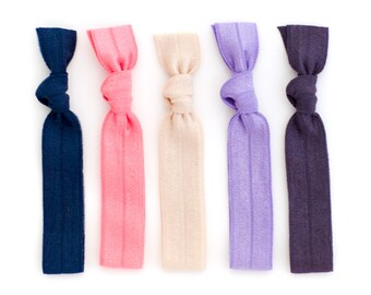 The Kate Package - 5 Lavender Navy Tan Elastic Solid Color Hair Ties that Double as Bracelets by Mane Message on Etsy