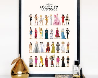 Who Run the World Music Poster, The Future is Female Print, Queen B Gift for Her, Fun Pop Art Wall Art, Feminism Art Print