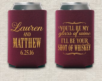 Glass of Wine, Shot of Whiskey - Wedding Can Cooler
