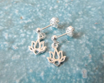 Sterling silver earrings, lotus earrings, yoga earrings