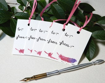 Hand-painted Pink Feather Gift Tags