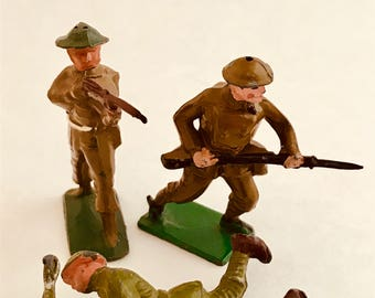 Lead Toy Soldiers - Three Collectible Britains' Soldiers - Made in England - War Toys, Figures from England - Collectible Toys - 1940s-1950s