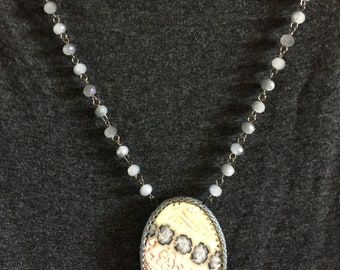 Clay flowered cabochon on beaded chain necklace
