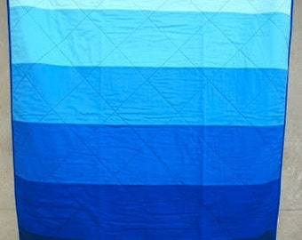 Cobalt Blue Ombre Stripe - Modern Baby Toddler Quilt Blanket - Little Boy