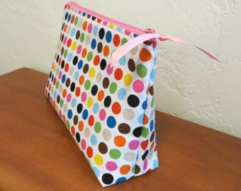 Zip pouch, zipper pouch,multicolor polka dots, cosmetic bag, clutch, pink