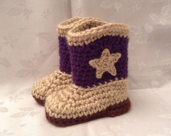 Cowgirl Boots Baby Purple and Tan Crochet Cowboy Booties, Made to Order, Cowgirl Booties, Infant Girl Boots Gender Reveal
