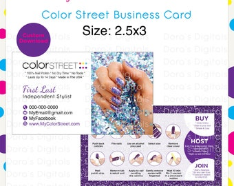 Business cards etsy color street spring business card purple10 custom digital download reheart Gallery