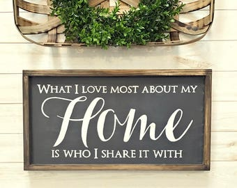 Wood Sign - Gallery Wall Wood Sign - What I Love Most About My Home Is Who I Share It With - Home Decor