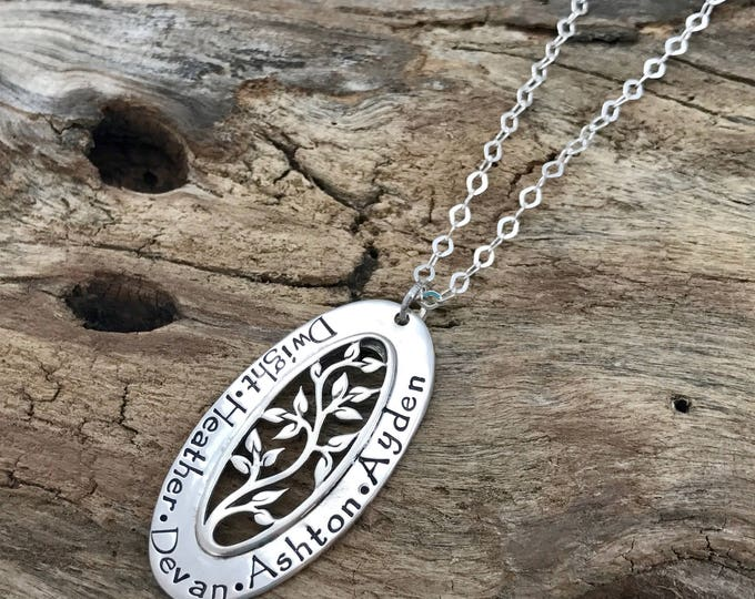 Grandmother Jewelry | Sterling Silver | Family Name Necklace | Tree of Life Necklace | Oval Tree | Grandma Necklace | Tree Jewelry