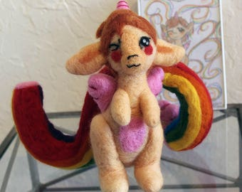 Needle Felted Alicorn and Rainbow Soft Sculpture Figurine Doll - Felt Alicorn Fantasy Mythical Figure Art - Ready to Ship