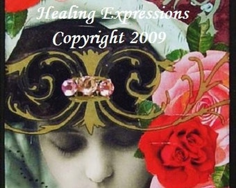 QUIET MOMENTS altered art inpirational collage vintage woman floral roses ATc ACeO PRiNT