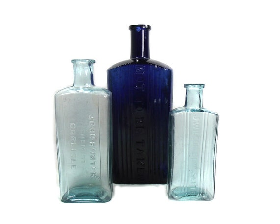 English Antique Glass Poison Bottle Collection