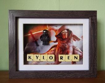 Star Wars Custom Kylo Ren mini figure Frame with Scrabble tiles
