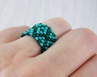 Gift for girls women ring unique ring turquoise ring stacking rings glass bead ring everyday ring dainty ring geometric ring minimalist ring