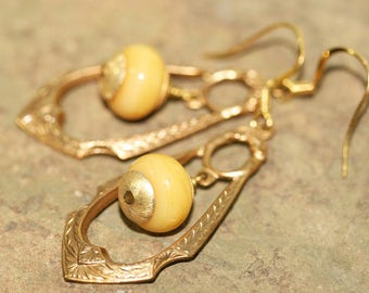 Yellow Lampwork Glass and Art Deco Brass Earrings, Handcrafted Vintage Style Art Glass Jewelry, Modern Inspired, Teardrop Frame, Soft Color