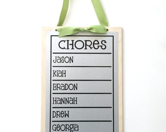 Family Chore Chart - 13 x 9  Magnet Board - Personalized Chore Board with 2-6 Names - Magnetic Chore Chart  - With Optional Magnets