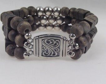 Silver and Wooded Bracelet