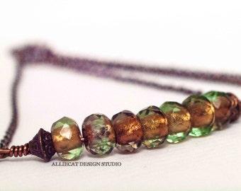 Bohemian Necklace, Boho Necklace, Gypsy Olive Copper Shimmer Necklace