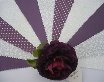 "3m Gorgeous Dusky Aubergine Purple & Ivory""Promise"" Fabric Wedding Bunting"