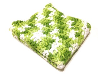 Lime Ombre Crocheted Square Dish Cloth