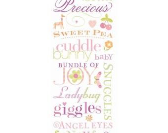 "Brenda Walton Small Wonders Girl Words Rub-ons by K&Company 4.5""x13"""