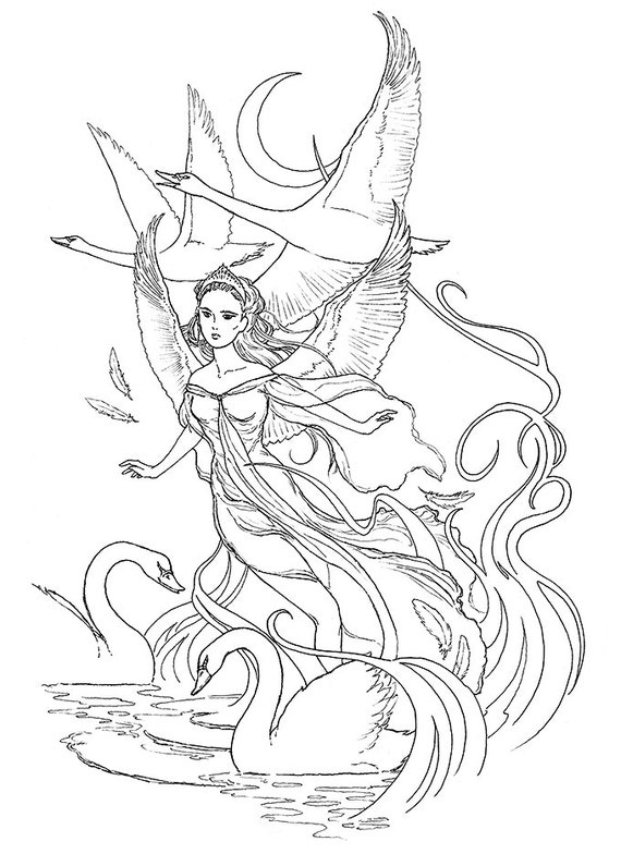 Swan Princess Ink drawing coloring page instant download