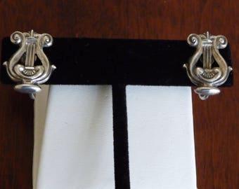 Sterling Silver Lyre Earrings/Beau Sterling Lyre Earrings/Vintage Beau Sterling Lyre Earrings/Vintage Beau Sterling Musical Earrings/Lyre