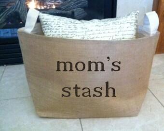 mom's stash burlap storage basket , burlap storage container, burlap bin