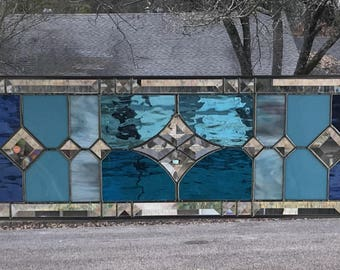 """Large Transom Stained Glass Window Panel w/Bevels - Blue Tones, apprx size 36"""" x 9"""""""