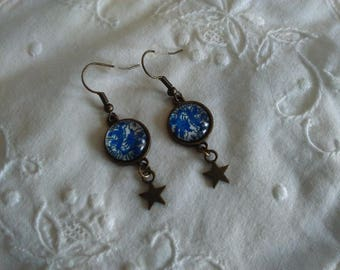 glass cabochon, blue floral earrings