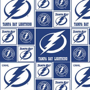 NHL Tampa Bay LIGHTNING Hockey 100% cotton fabric material you choose length licensed for Crafts, Quilts, clothing and Home Decor
