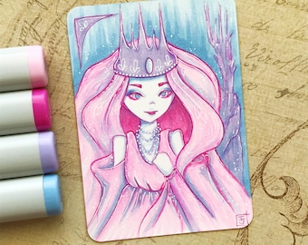 Fantasy Queen - Original ACEO hand drawn, copic illustration, Artist Trading Card, Sketchcard 2.5 x 3.5 inches