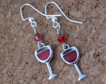 Wine Glass Earrings - Red Wine Earrings - Girls Night Out Earrings - Swarovski Earrings - Wine Glass Charm Earrings - Silver and Red