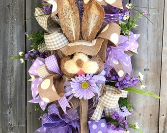 Easter wreath with rabbit, Easter swag with bunny embellishment, easter wreath for front door, Easter swag with bunny head