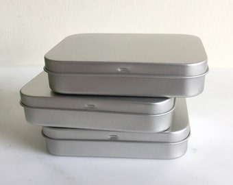 Playing Card Box, Poker Card Box, Rectangular Metal Tins, Blank Hinged Tins, Color Silver 150ml Tin Box, Organising Box, Set Of 50 Boxes