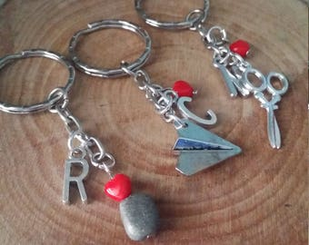 Three best friends Silver customized initial keychains-Rock,paper, scissors
