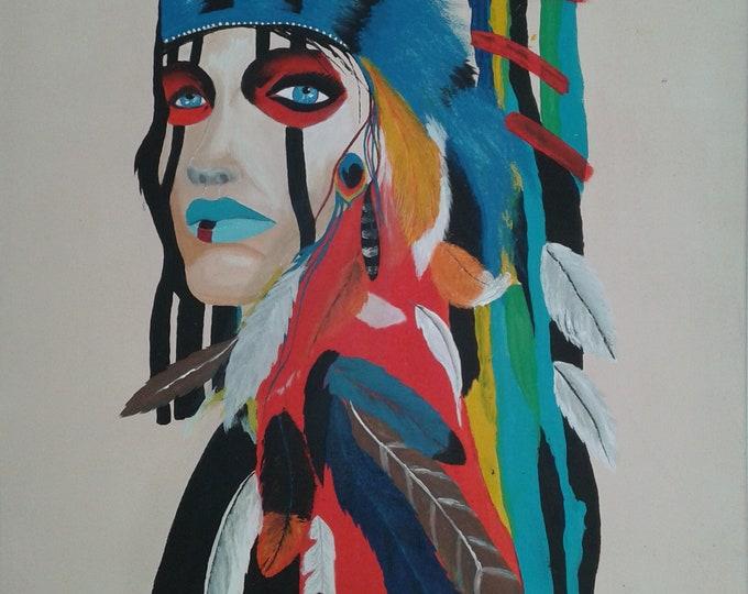 Indian contemporary canvas portrait painting, colorful, feathers, colorful canvas, home decor, modern décor