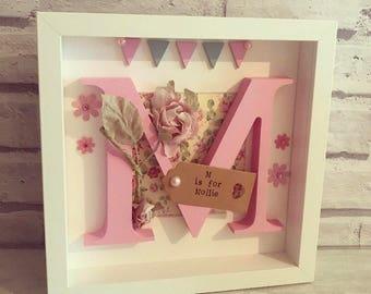 Personalised Wooden Letter Frame | Christening Gift | New Baby Gift | Nursery | Wall Decor | Girls Decor