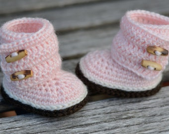 Crochet Baby Boots, Pink Wraparound Boots, Baby Girl Boots, Crocheted Boots, Booties, Baby Gift, Indie Boots