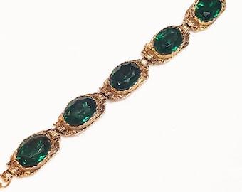 Emerald Glass Gold Chain Link Bracelet Vintage