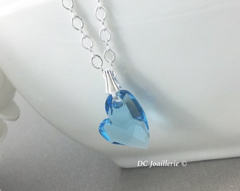 Swarovski Crystal Heart Necklace Aquamarine Heart Necklace Aqua Heart Necklace Bridesmaid Necklace Bridesmaid Gift Gift for Her