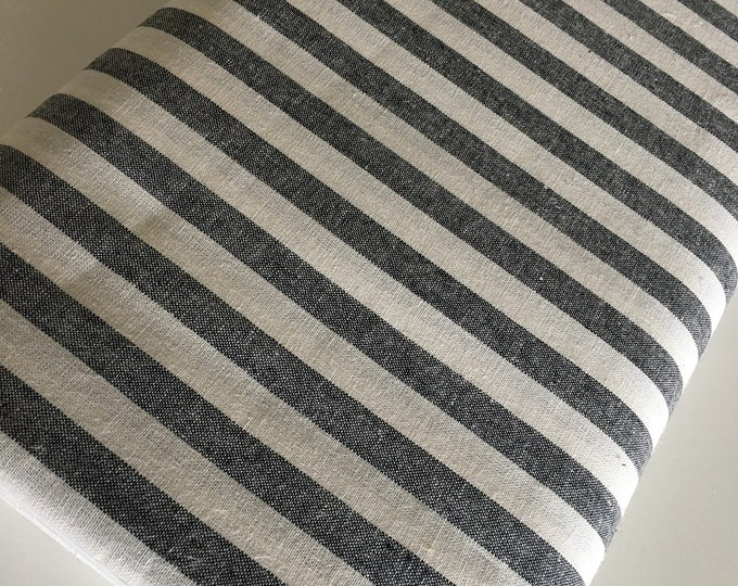 Essex Linen Classic Yarn Dyed Wovens, Linen Blend fabric,  Apparel Fabric, Dress fabric, Striped Linen, Essex Wovens Stripe in Black