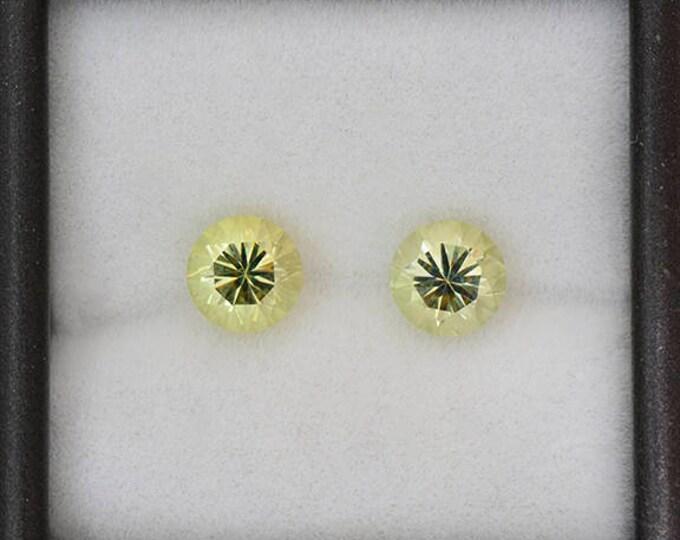 Excellent Light Yellow Green Chrysoberyl Gemstone Match Pair 2.26 tcw.